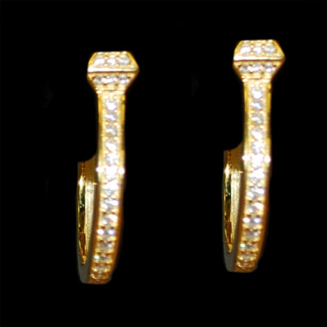 Horseshoe Nail Hoop Earrings Gold
