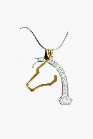 Horsehoe Nail Horse Head Pendant Gold with Silver Mane