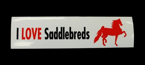I Love Saddlebreds Bumper Sticker with Red Saddlebred