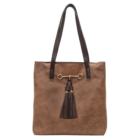 Liz Soto Two in One Horse Bit Tote Brown