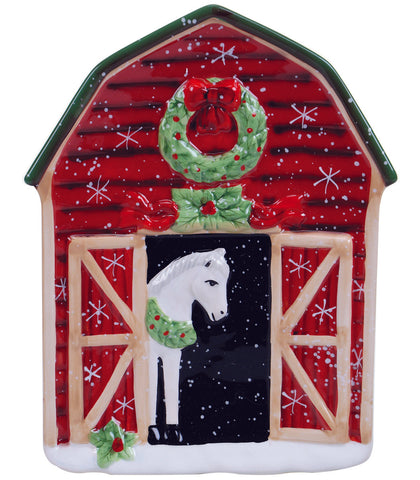 Holiday Cookie Plate White Horse Peeking Out of Red Barn with Wreath