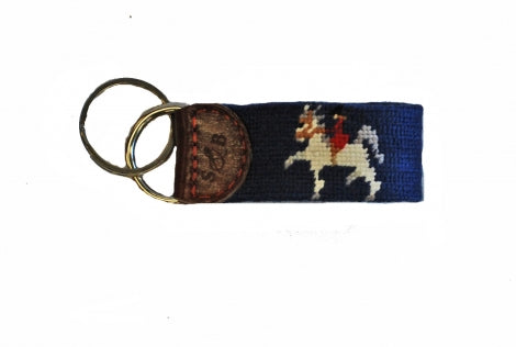 Saddlebred Needlepoint Key Fob Circus Girl by George Ford Morris Horse with Rider on Navy