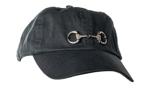 Rhinestone Snaffle Bit Hat Black with Silver Snafflebit on Front with Rhinestones