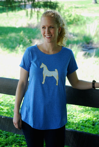 Under Armour Crew Tee Blue White Horse with Yellow Border on Model