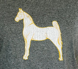 Under Armour Crew Tee Detail White Horse with Yellow Border