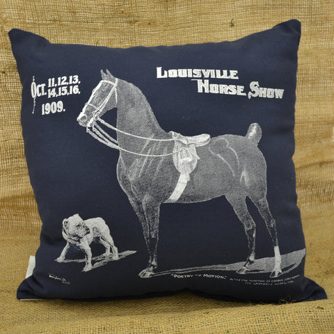 Louisville Horse Show Pillow Saddlebred and Dog Navy