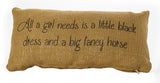 Little Black Dress Horse Pillow Burlap