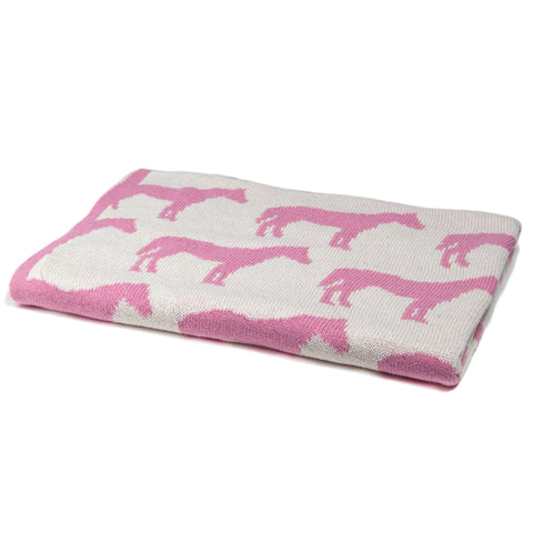 Reversible Pony Baby Throw Pink Horse and Border