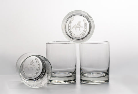 Saddlebred Horse in Horseshoe Etched on Four Double Old Fashioned Glasses