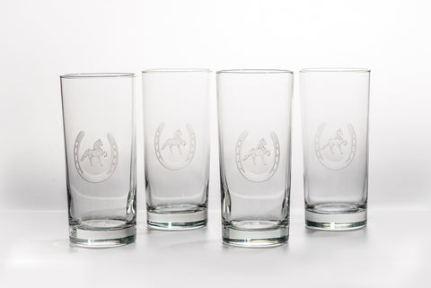 Saddlebred Horse in Horseshoe Etched on Four High Ball Glasses