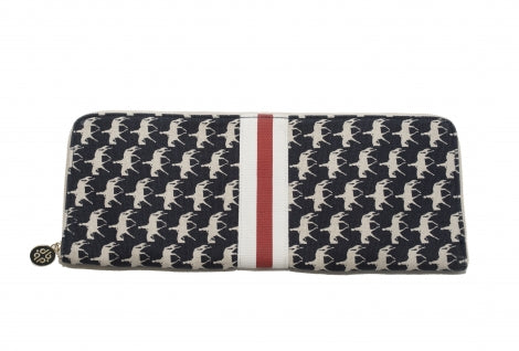 Canvas Tie Case White Horses on Navy