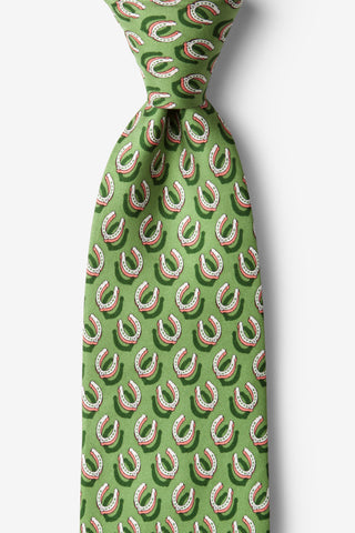 If the Shoe Fits Horseshoe Equestrian Tie Green