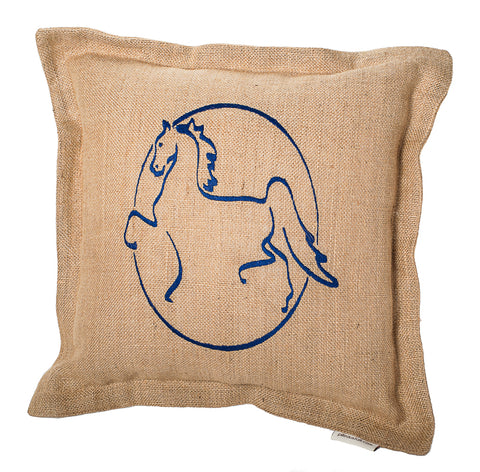 American Saddlebred Museum Pillow Burlap Navy