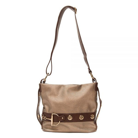 Liz Soto Cross Body Horse Bit Handbag Pewter