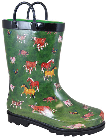 Round Up Boot Green with Horses