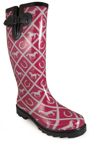 Cheshire Women's Boots Maroon with White Horses and Horseshoes