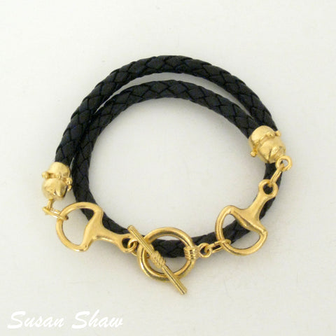 Braided Leather with Bits Bracelet