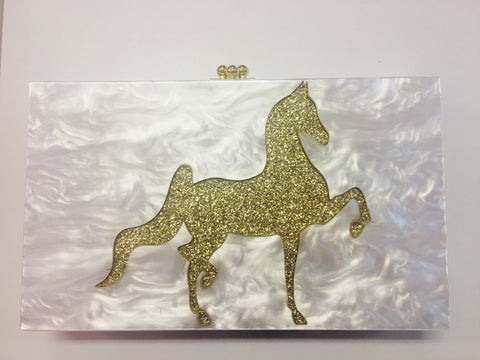 Saddlebred Lucite Purse Ivory