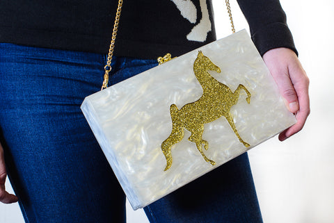 Saddlebred Horse Lucite Purse Ivory