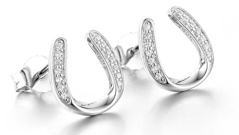 Horseshoe Earrings in Sterling Silver and Cubic Zirconia