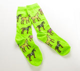Horses in Blankets Socks Green