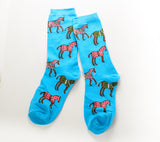 Horses in Blankets Socks Blue