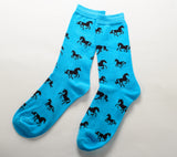 Horses All Over Socks Blue