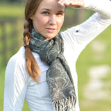 Linear Horse Pashmina Scarf Black Model