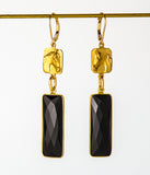 Rex McDonald Large Stone Saddlebred Horse Earrings Black Onyx and Gold Alloy