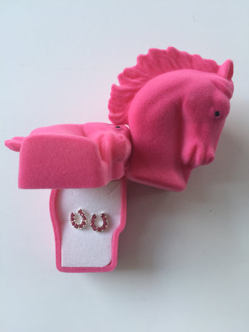 Pink Horseshoe Earrings