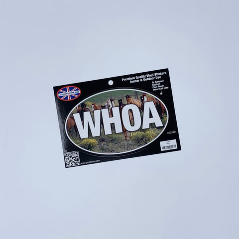 Oval Bumper Sticker Reads WHOA with Image of Horses in Background