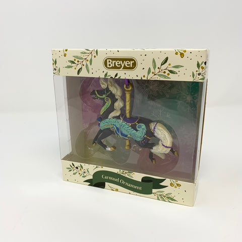 Breyer 2019 Holiday Carousel Horse Ornament Brown Horse with Cream Mane, Turquiose, Purple, and Gold Accessories on Carousel Pole