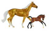 Breyer Stable Surprise Gold and White Horse, Brown and Black Foal