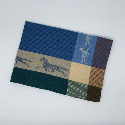 Plaid Runnig Horse Kitchen Towel Blue and Beige