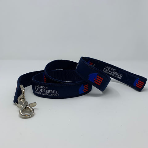 American Saddlebred Horse Association Dog Leash Navy with White Text and Blue and Red Logo