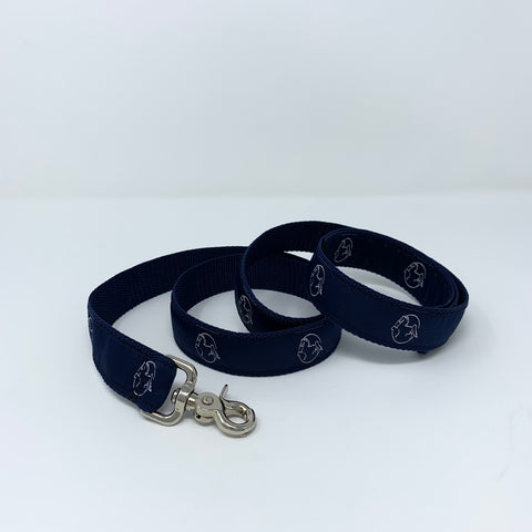 Navy Dog Leash with American Saddlebred Museum Horse Logo Repeated Curled on White Background