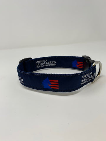 American Saddlebred Horse Association Dog Collar Navy with White Text and Blue and Red Logo