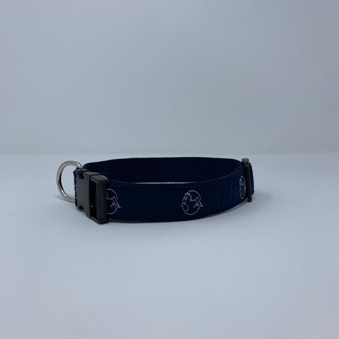 Navy Dog Collar with White American Saddlebred Museum Horse Logo Repeated