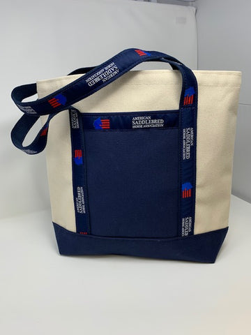 American Saddlebred Horse Association Tote Small Natural Color with Navy Bottom Handles White Text and Blue and Red Logo