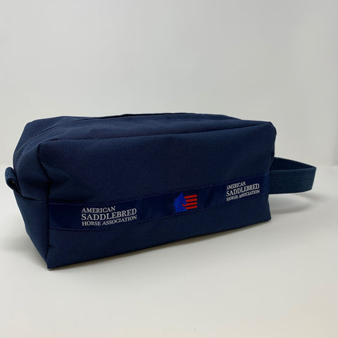 American Saddlebred Horse Association Dopp Kit Navy with White Text and Blue and Red Logo