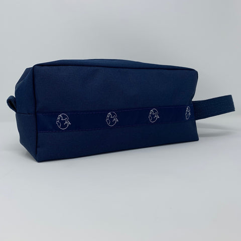Navy Dopp Kit with American Saddlebred Horse Logo in White Repeated Along Side