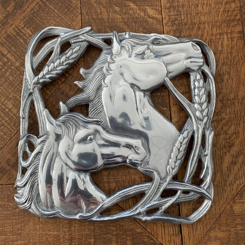 Arthur Court Horse with Wheat Trivet Two Horse Head Sourrounded by Wheat