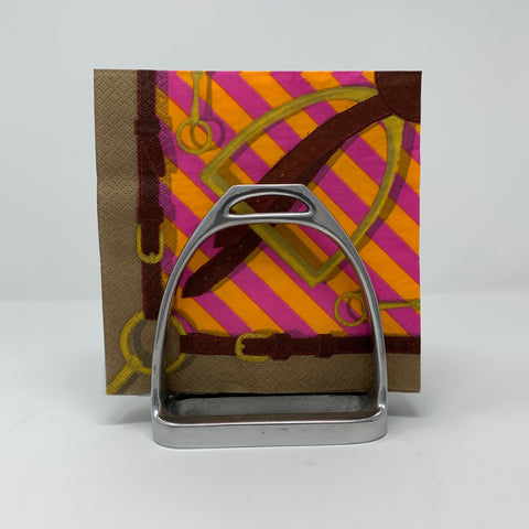 Two Side by Side Stirrups Form Napkin Holder Pictured with Napkins