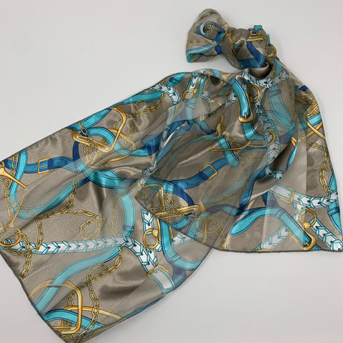 English Satin Stripe Equestrian Scarf Grey with Print of Gold Stirrups and Chains Blue Leather