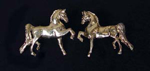 Trotting Saddlebred Horse Earrings Gold