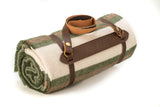 Whup Trot Travel Blanket Olive Green with Cream and Light Brown Stripes on Ends Rolled Up in Leather Carrier with Whup Trot Embossed