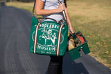 Rebecca Ray American Saddlebred Museum Horse Tote Green Front Over Woman's Shoulder Holding Tack Box