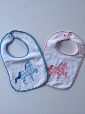 Blue and Pink Saddlebred Embroidered Bibs