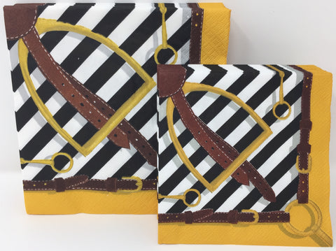 Black and Gold Stirrup Napkins
