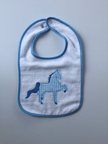 Blue Saddlebred Embroidered Bib